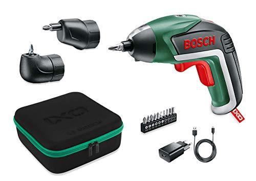 Bosch IXO Set - Atornillador a batería (Accesorios angular y excéntrico, 10 puntas para atornillar, cargador USB, estuche metálico, 3.6V, 1.5Ah)