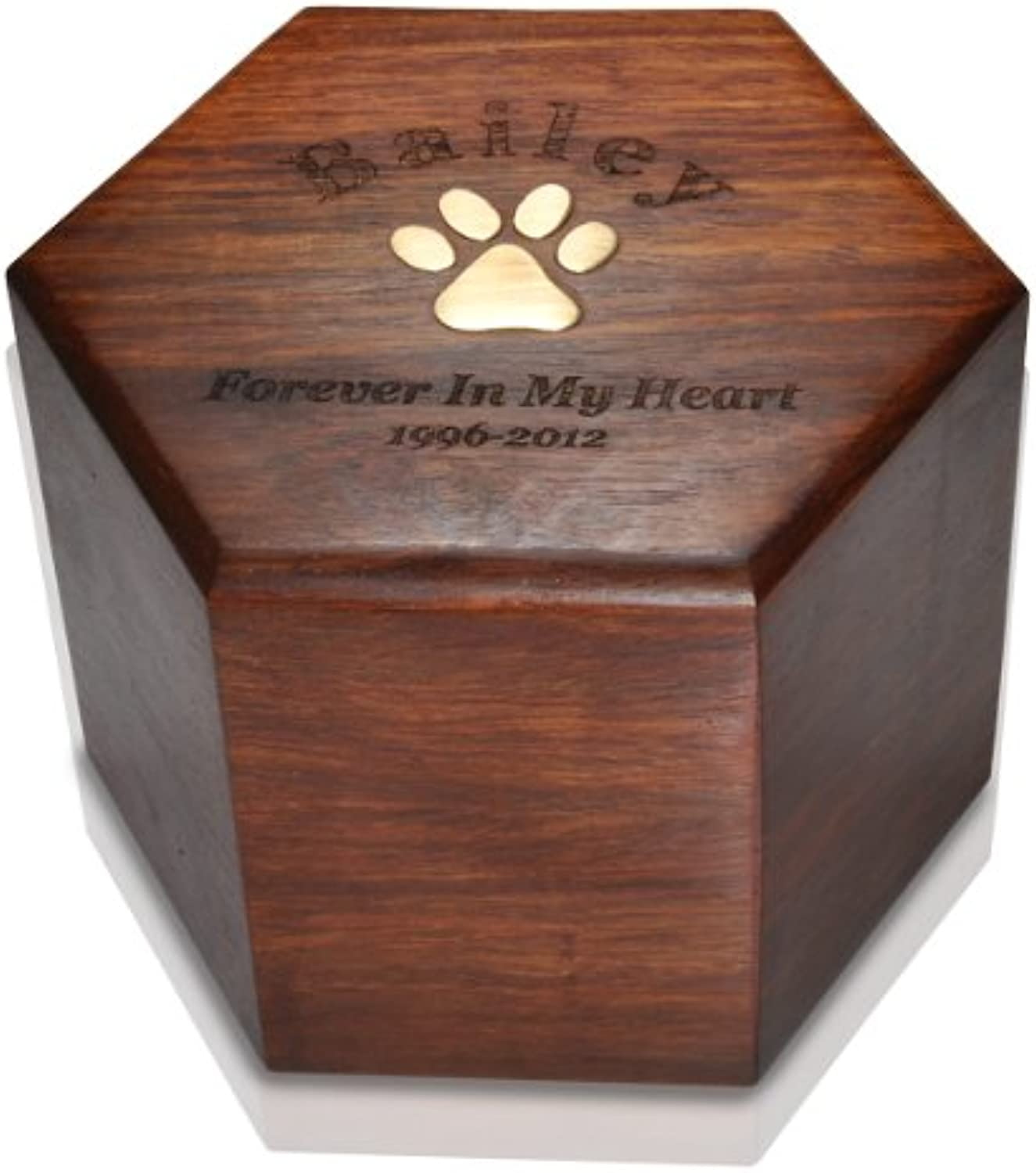 Memorial Gallery Paw Print Hexagon Wood Pet Urn Personalized