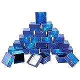 SUPERFINDINGS - Caja de Regalo Cuadrada de Cartón Azul Cielo Estrellado con Almohadilla de Esponja En el Interior para Collar Pequeño, Aretes, Aniversarios, Bodas, Cumpleaños, 5.1x5.2x3.15 cm