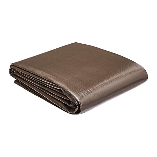 AmazonCommercial Multi Purpose Waterproof Poly Tarp Cover, 10 X 12 FT, 10MIL Thick, Brown/Silver, 4-Pack