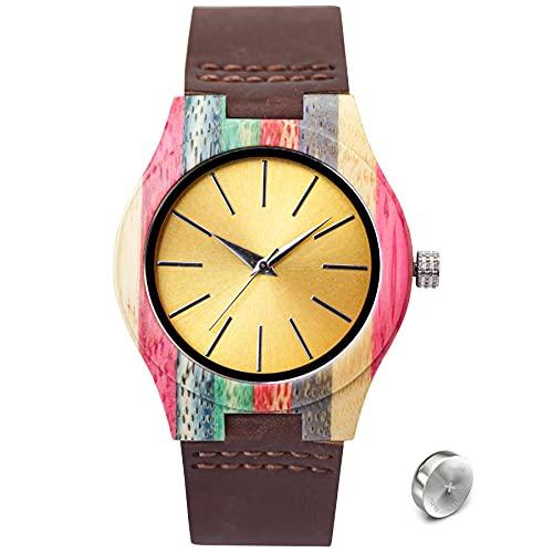SKYLINE Reloj de Madera Unisex, Reloj Pulsera con...