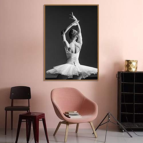 Schwarz-Weiß-Ballerina Rückansicht schönes Mädchen Foto Kunstdruck Poster Wandbild Leinwand Malerei Ballerina Familie rahmenlose dekorative Malerei A49 60x90cm