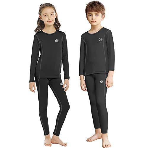 MEETWEE Thermounterwäsche Kinder, Lang Jungen Skiunterwäsche Mädchen Funktionsunterwäsche Atmungsaktiv Funktionswäsche Sport Thermo Unterwäsche für Running Skiing