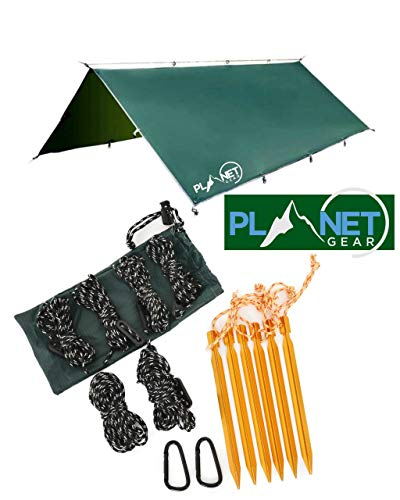 Planet Gear Camping Tent Tarp Shelter 3m x 3m | Lightweight Waterproof Rain Tarpaulin| Hiking, Hammock, Backpacking, Picnic | 6 Aluminium Ultralight Pegs, 8 Ropes