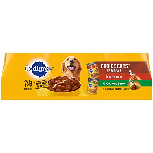 PEDIGREE CHOICE CUTS in Gravy Adult Canned Soft Wet Meaty Dog Food With Beef and Country Stew Variety Pack, (12) 13.2 oz. Cans