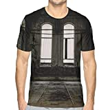 Mens T-Shirt,Vintage Style Grunge Floor Walls and Windows Messy Aged Wrecked Workshop M