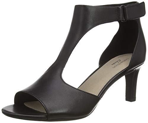 Clarks Damen Alice Flame_T-Spangen Pumpsn Pumps T-Spange, Schwarz (Black Leather), 39 EU