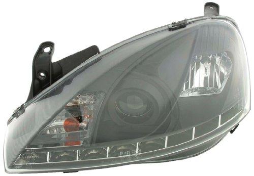 FK-Automotive LHD Only Daglicht koplamp voor Opel/Vauxhall Corsa (Typ C) Yr. 01-06 zwart