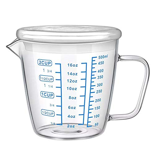 Large Glass Measuring Jugs with Lid Measured Mixing Glass Mug Measure Liquid Milk Cup Measuring Pitcher Beaker Clear Scale Ounce Cup with Spout& Insulated Handle,Hold Hot/Cold Fluid, 500ml