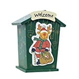 super1798 Kids Cute Santa Elk Snowman Wooden Money Coin Box Piggy Bank Holiday Green