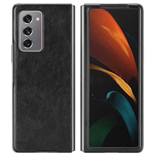 HualuBro Handyhülle für Samsung Galaxy Z Fold2 5G Hülle, Retro PU Leder Ultra Slim Stoßfest Schutzhülle Lederhülle Back Bumper Hülle Cover für Samsung Galaxy Z Fold 2 5G Tasche (Schwarz)