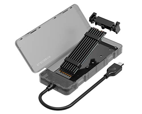 NVMe M.2 SSD a USB 3.1 Gen2 Adattatore Esterno con USB Tipo C Cavo, NV-2575C NVMe PCIe SSD Adapter Custodia Box Case per Disco Rigido 2280 Samsung 960 970 EVO Pro, WD Black con Dissipatore di Calore