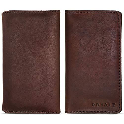 ROYALZ Ledertasche für LG K4 2017 Dual SIM Lederhülle Hülle Tasche Schutztasche Schutzhülle Cover Etui Sleeve Leder, Farbe:Braun