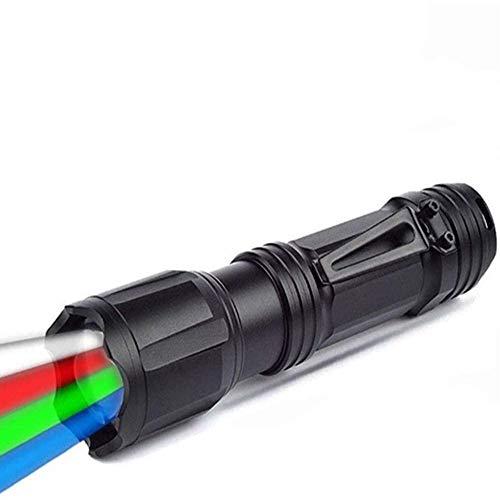 Linterna táctica LED con luz roja verde azul y blanco, 4 colores en 1 linterna con zoom, multifuncional, impermeable para visión nocturna, pesca, camping, caza