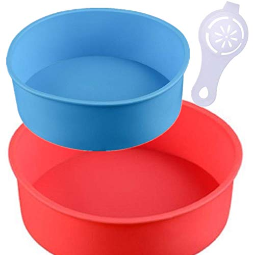 zswell Round Silicone Cake Mold Baking Bakeware Pan - 6 Inch and 8 Inch - Set of 2 - BPA Free - Kitchen Baking Tool with Egg White Separator