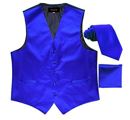 Brand Q 3pc Men's Tuxedo Vest,Neck Tie,Pocket Square Set for Suit or Tuxedo (3XL, Royal Blue)