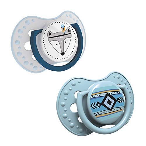 LOVI 2x Succhietto in silicone per bambini 0-3 mesi | Confezione da 2 | Copertina Igenica | Protegge il riflesso di succhiare | Suggerimento dinamico | Sterilizzazione con acqua bollente | Blu