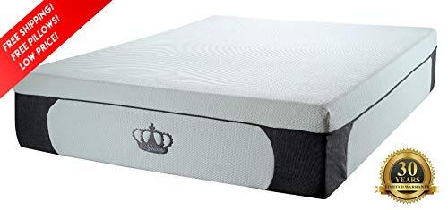 DynastyMattress New! 14.5-Inch CoolBreeze Plush Gel Memory Foam Mattress w/Free Pillows (Queen)