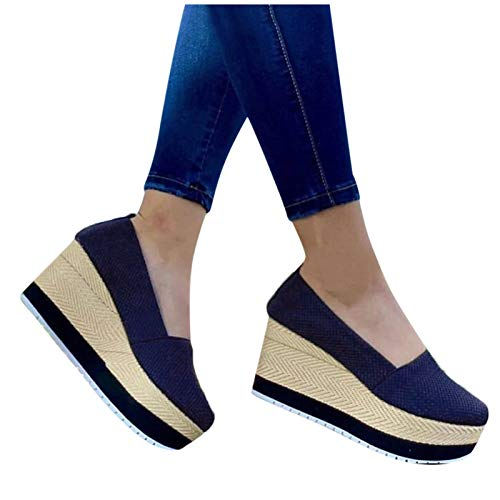 Aniywn Women's High Platform Wedge Heels Shoes Closed Round...