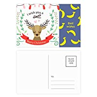 クリスマス鹿祭りのパターン バナナのポストカードセットサンクスカード郵送側20個