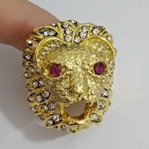 Janly Clearance Sale Anillos para mujer, estilo punk, cabeza de león, oro relleno de rubí natural, anillo de diamantes de imitación, joyería y relojes para Navidad, día de San Valentín (A)
