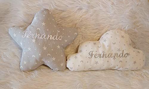 Cojines personalizados para bebés. Pack de 2 cojines con el nombre del bebé, bordado a máquina, para decoración de cunas y dormitorios infantiles.