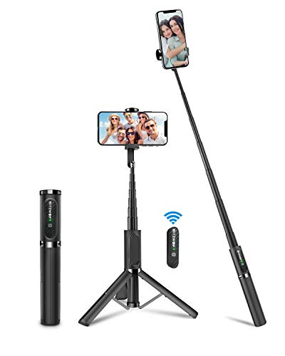 Bluetooth Selfie Stick Stativ, BlitzWolf Aluminium All-In-One Monopod Wireless Selfie-Stange Stab mit Bluetooth Fernbedienung für iPhone 12/11/11 Pro/11 Pro Max/XS/XS Max/XR/X/8, Samsung, Huawei(Grau)
