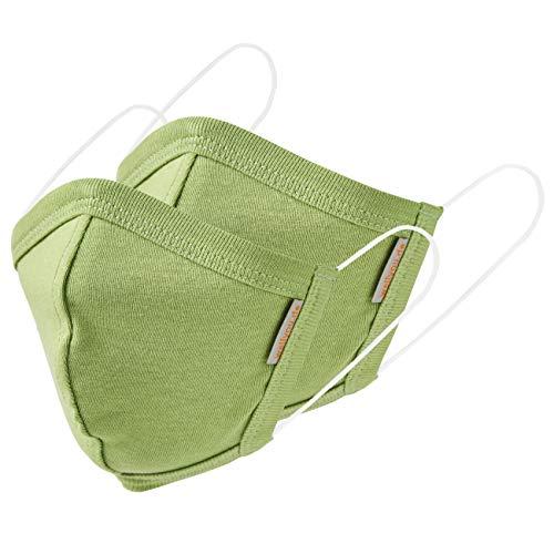 wellyou 2er Set Kinder und Erwachsene Masken, Mundschutzmaske, gesicht mask, face mask aus 100% Baumwolle Gr. (M) 5 bis 10 Jahre; (L) ab 11 Jahre (grün, L (ab 11 Jahre))