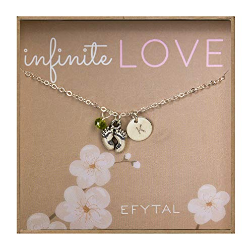 EFYTAL Baby Feet Necklace w/Personalized Initial and Birth Month Charm - New Mom Gift