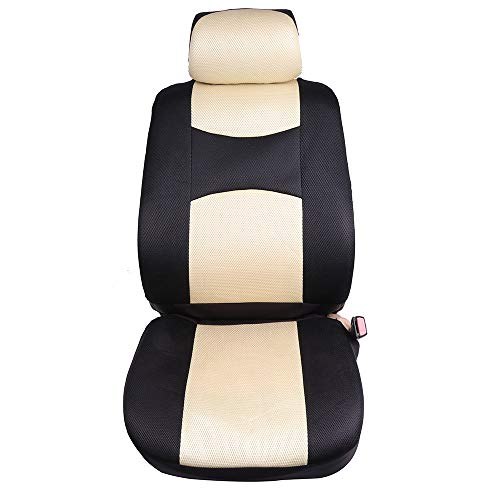 ECCPP Universal Car Seat Cover w/Headrest - 100% Breathable Mesh Cloth Stretchy Durable for Most Cars Trucks Vans(Beige/Black)