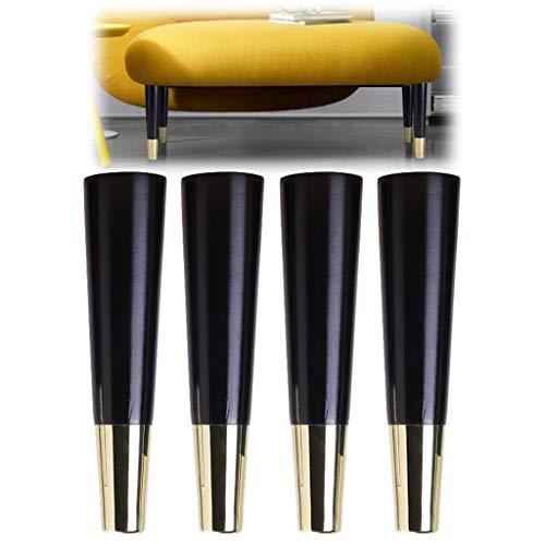 Holzmöbelbeine, Ersatzfüße für Massivholz-Kegelmöbel, mit Montageplatte und Schrauben + Silikonmatte, für Sofa TV-Schrankbett Esstisch