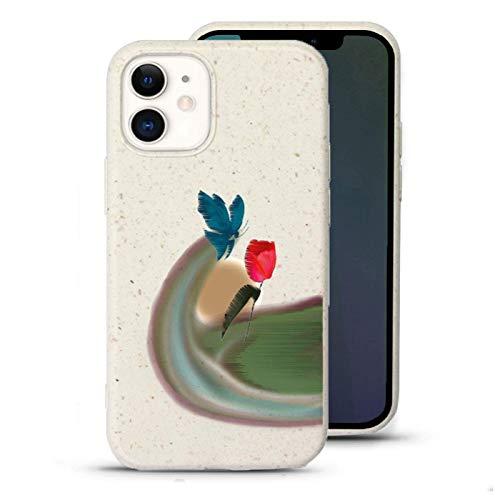 Gemi-Hülle Schutzhülle für iPhone 12 / 12 Pro, pflanzenbasiert, stoßdämpfendes Design, umweltfre&lich, aus Pflanzen – Morning Windblast Schmetterling Tulpe