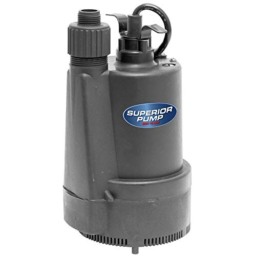 Superior Pump 91330 1/3 HP Thermoplastic Submersible Utility Pump with 10-Foot, Black