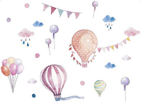 Pink Hot Air Balloons & Clouds Peel & Stick Watercolor Wall Art Mural for Kids and Nursery Room