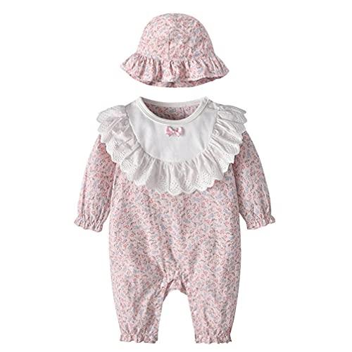 TOYANDONA 1 Set Schöne Kleinkind Baby Mädchen Spielanzug mit Einem Hut Nette Rosa Overall Baumwolle Weiche Romper Baby Overall Outfit (Rosa)