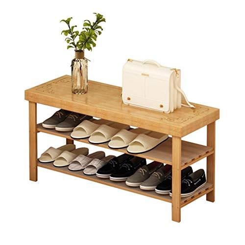 ZZYE Zapatero Zapato Botas de Mesa de Banco gabinete de Almacenamiento bambú 2 Entrada Entrada Simple Moderno Organizador Armario de Madera versátil Perchero Zapatero