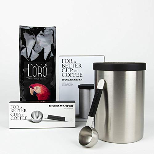 Moccamaster Geschenkset Kaffeedose Edelstahl, Edelstahl Spoon und 250g Tarrazu gemahlen
