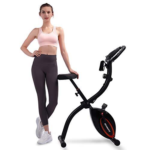 ECHANFIT Folding Exercise Bike Upright Stationary Bikes With Arm Resistance Bands 16-Level Adjustable Magnetic Resistance Workout Bike For Home