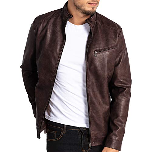 VICALLED Mens Leather Jacket Slim Fit Stand Collar PU Motorcycle Jacket Lightweight