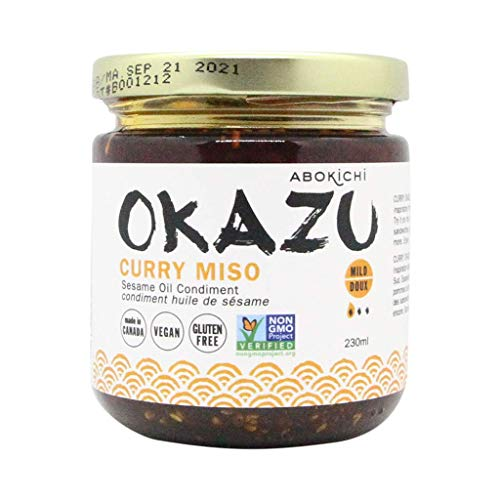 Premium Japanese Curry Miso Oil - Savoury, Umami-Rich Condiment Handcrafted in Canada by Abokichi - All Natural, Vegan, Non-GMO, Gluten Free, (Curry Miso, 230mL)…