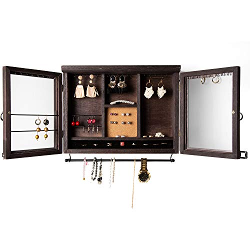 Cabinet Jewelry Organizer – Wall Mounted Jewelry Holder with Removable Bracelet Rod, Shelf, Earrings Wire Mesh, 32 Hooks & Barn Doors – Perfect Earrings, Necklaces and Bracelets Holder - Dark Brown