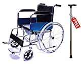 SMARTCARE Lightweight Portable and Durable Wheelchair with Removable Foot Rest, Armrest and Commode Pot