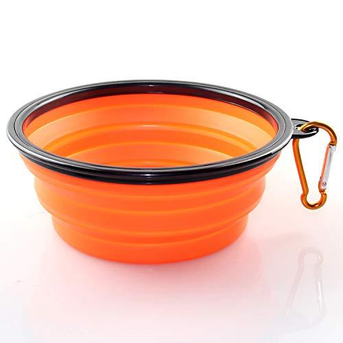 KAEHA SUN-011-01 Grande Bebedero Portatil Plegable Perro de Viaje Silicona Comederos, Naranja