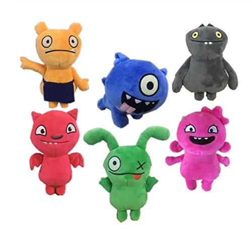 zhengboasd Weiches Spielzeug, Ankunft Uglydoll Cartoon Anime Ochse Moxy BABO Plüschtier Uglydog Weiche Gefüllte Plüschpuppen Hässliche Geschenke Für Kinder Kinder 18cm 6 STK/Set