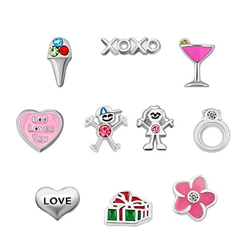 UNIQUEEN Floating Charms Love Heart Locket Charm for Glass Living Memory Lockets Necklace & Bracelets