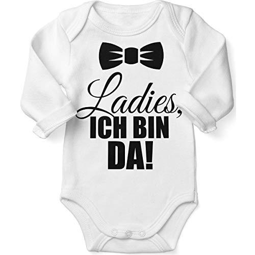 Mikalino Babybody mit Spruch für Jungen Mädchen Unisex Langarm Ladies, ich Bin da! | handbedruckt in Deutschland | Handmade with Love, Farbe:Weiss, Grösse:56