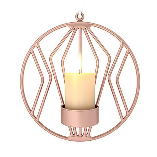 VKTY Wand-Kerzenhalter, 2 Stück, geometrischer Kerzenhalter, moderne Metallwandkunst, Kerzenhalter, Heimdekoration, Teelicht, Wanddekoration, Kerzenhalter für Wohnzimmer, Rose