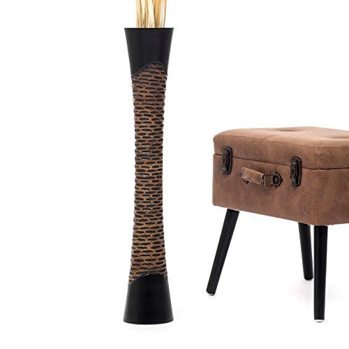 Leewadee Grande Vaso da Terra: Vaso Alto, Elemento Decorativo Fatto a Mano in Legno Esotico, Vaso per per Rami Decorativi, 75 cm, Nero