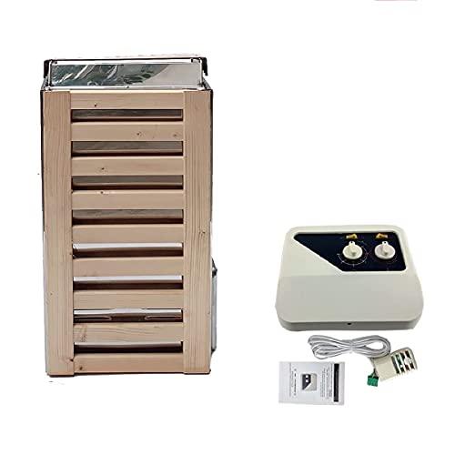 JKLN 3 KW Bastuugn 220 V bastu ugn med extern kontroll rostfritt stål torrt ånga elektrisk bastuugn 113–230 °F, bastusten, 3–5 m³ hushållsbastu, bad dusch spa