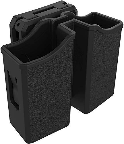 Universal Double Magazine Pouch, 9mm .40 .45 .357 Molle Mag Holder Dual Magazine Holster OWB, Adjustable Belt Clip Fit Glock Sig sauer S&W Beretta Taurus 1911 Pistol Mags